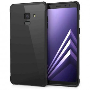 Caseflex Θήκη Σιλικόνης Samsung A8 Plus 2018 - Black & Screen Protector