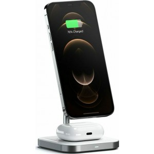 Satechi 2 in 1 Magnetic Wireless Charging Stand - Μαγνητική Βάση Φόρτισης για τα iPhone 12 & Airpods - Space Grey
