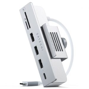 """Satechi Αντάπτορας Type-C Clamp Hub για iMac 24"""" 2021 - Με 3 x USB-A 3.0 / 1 x Type-C / 1 x SD & Micro SD - Silver"""