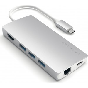 Satechi Type-C USB 4K Multiport Adapter Hub V2 - Mε 1x USB Type-C / 3x USB 3.0 / 1x HDMI / 1x Micro SD / SD / 1x Ethernet - Silver