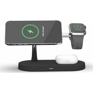 Tech-Protect A12 3 in 1 Wireless Charging Station - Βάση Ασύρματης Φόρτισης MagSafe για iPhone 12 / Airpods / Apple Watch - 15W - Black
