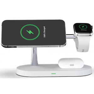 Tech-Protect A12 3 in 1 Wireless Charging Station - Βάση Ασύρματης Φόρτισης MagSafe για iPhone 12 / Airpods / Apple Watch - 15W - White