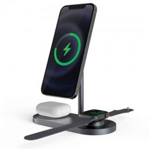 Tech-Protect A22 3 in 1 Wireless Charging Station - Βάση Ασύρματης Φόρτισης Αλουμινίου MagSafe για iPhone 12 / 13 / Airpods / Apple Watch - 18W - Grey