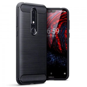 Terrapin Θήκη Σιλικόνης Nokia 6.1 Plus - Carbon Fibre - Black