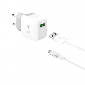 Celly Travel Adapter 2.4A - Φορτιστής MicroUSB - White