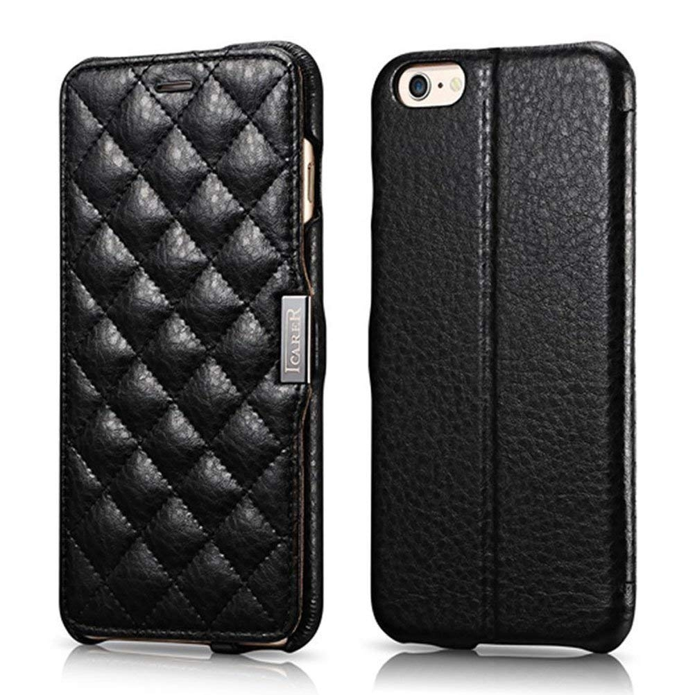 iCarer Check Pattern Δερμάτινη Θήκη iPhone 6 Plus / 6S Plus - Black (13925)