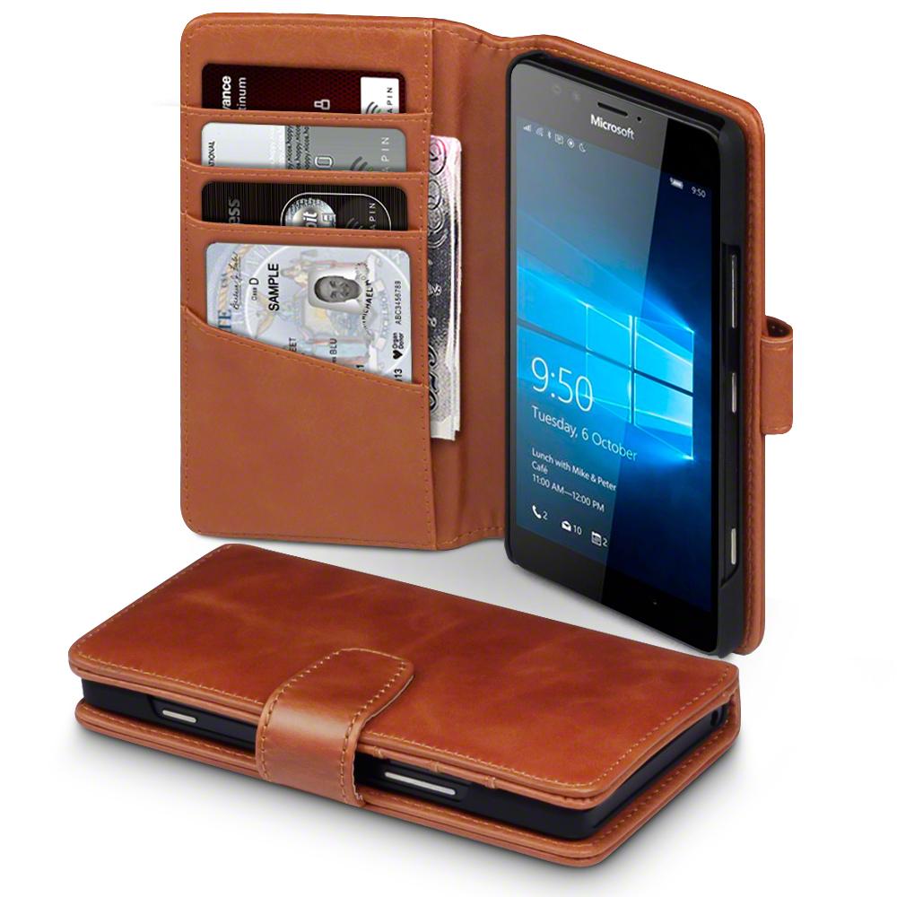 Terrapin Δερμάτινη Θήκη Microsoft Lumia 950 - Πορτοφόλι (117-116-101) - Cognac θήκες κινητών
