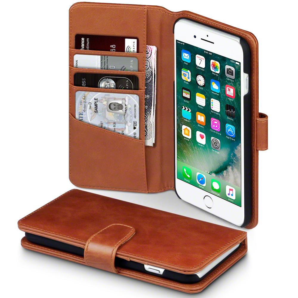 Terrapin Δερμάτινη Θήκη iPhone 8 Plus / iPhone 7 Plus - Πορτοφόλι (117-123-010) - Cognac