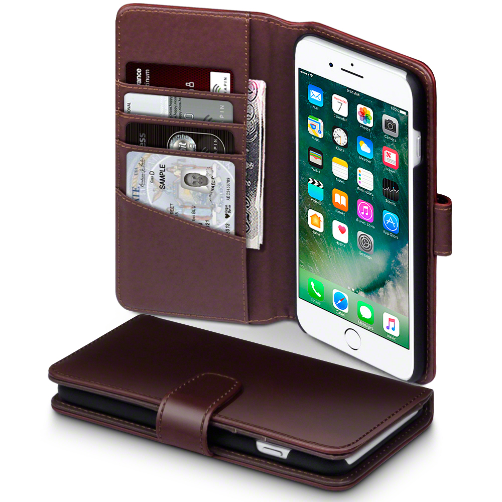 Terrapin Δερμάτινη Θήκη iPhone 7 Plus - Πορτοφόλι (117-123-009) - Brown θήκες κινητών