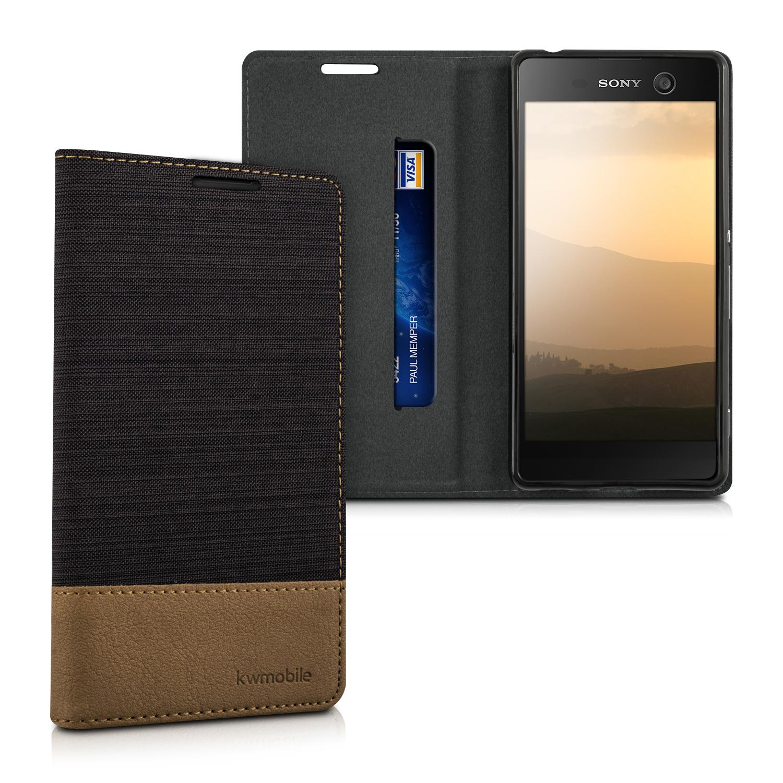KW Θήκη - Πορτοφόλι Sony Xperia M5 - Anthracite Brown (37548.19)