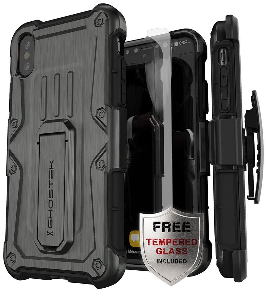 Ghostek Iron Armor - Ανθεκτική Θήκη iPhone X / XS  - Graphite & Tempered Glass (GHOCAS2000)