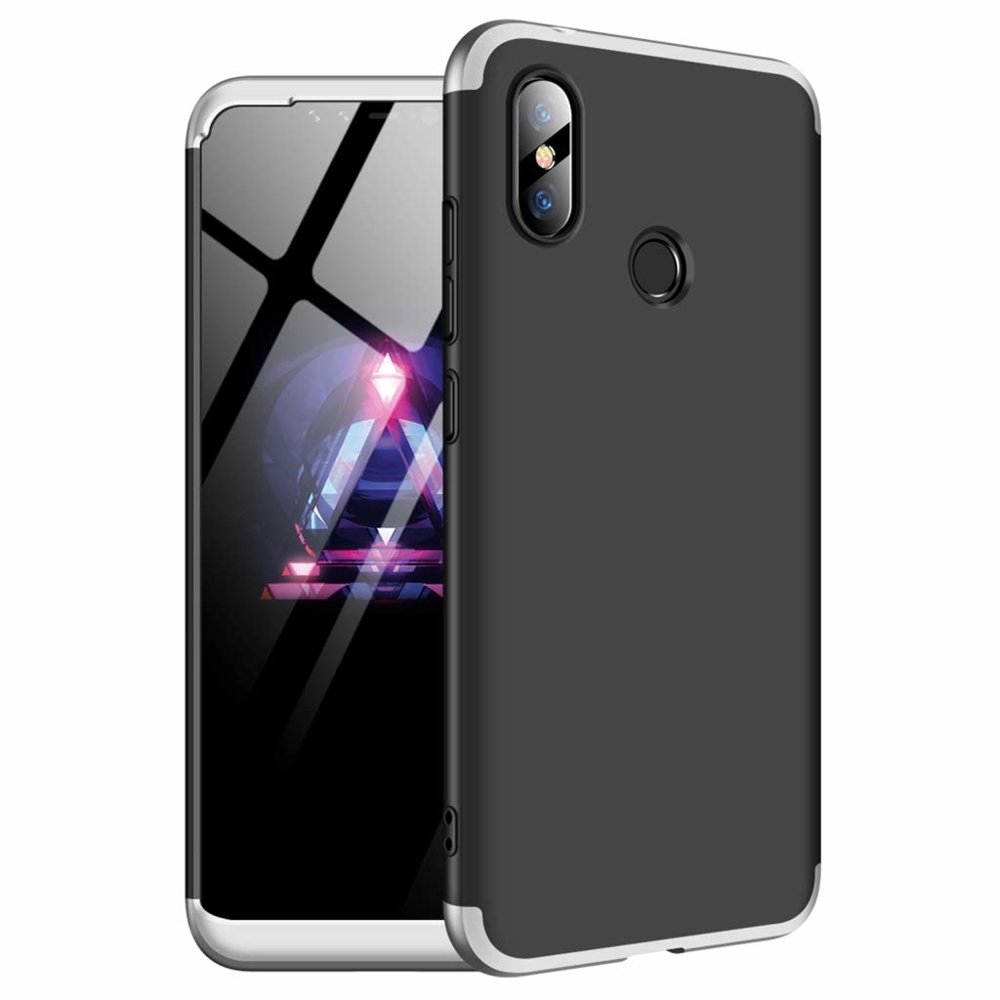 GKK Θήκη Hybrid Full Body 360° Xiaomi Redmi Note 6 Pro - Black Silver (44464)