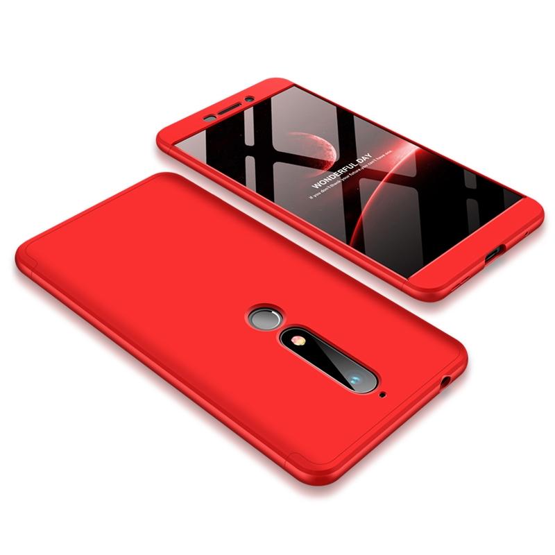 GKK Θήκη Hybrid Full Body 360° Nokia 6.1 / Nokia 6 2018 - Red (45207)