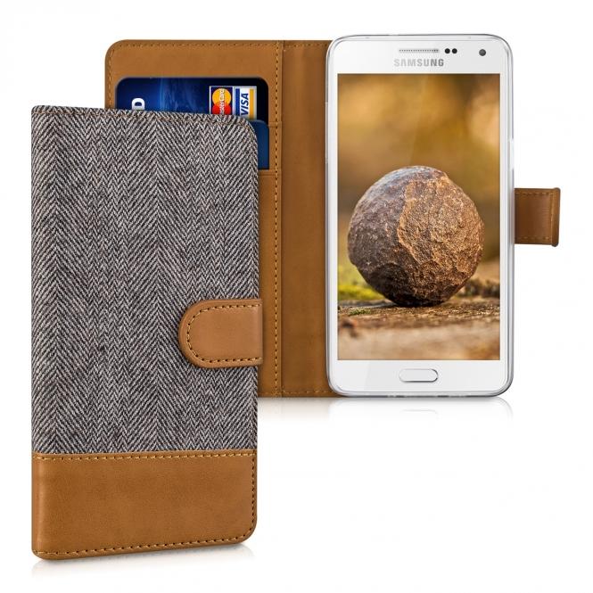 KW Θήκη Samsung Galaxy A5 (2015) - Πορτοφόλι (39018.19) - Dark Grey/Brown θήκες κινητών