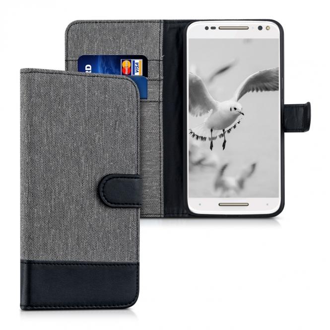KW Θήκη Motorola Moto X Style - Πορτοφόλι (38313.22) - Grey/Black