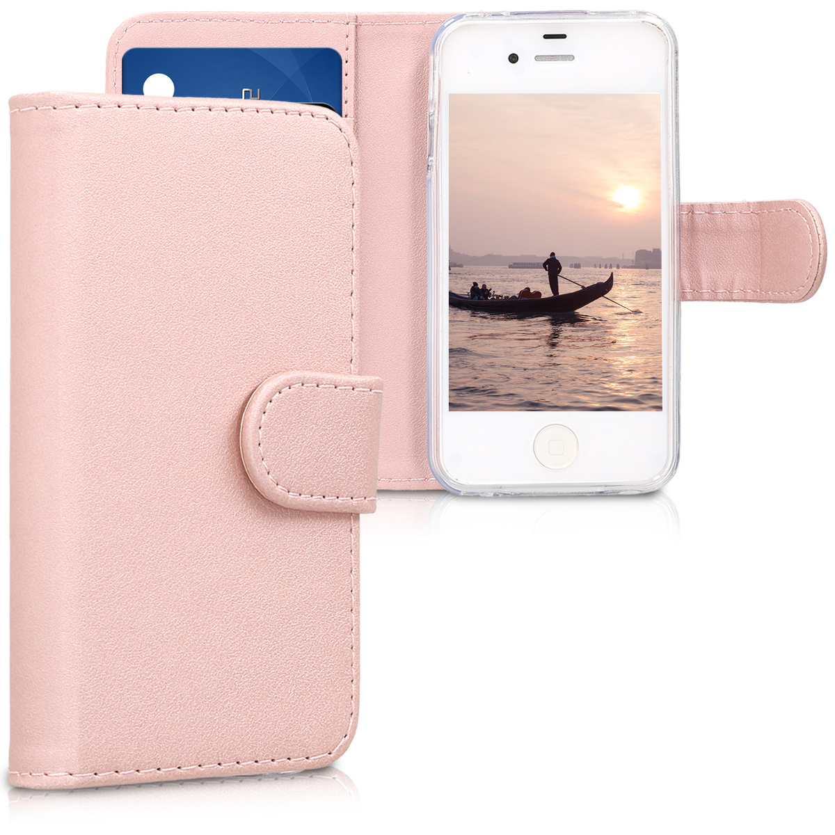 KW Θήκη - Πορτοφόλι Apple iPhone 4 / 4S - Protective Leather Flip Cover - Pink (11444.81)