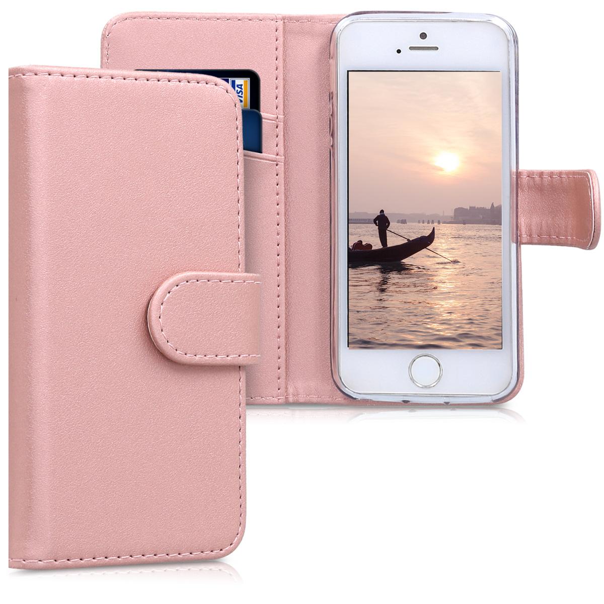 KW Θήκη Πορτοφόλι Apple iPhone SE / 5 / 5S - Pink (12261.81)
