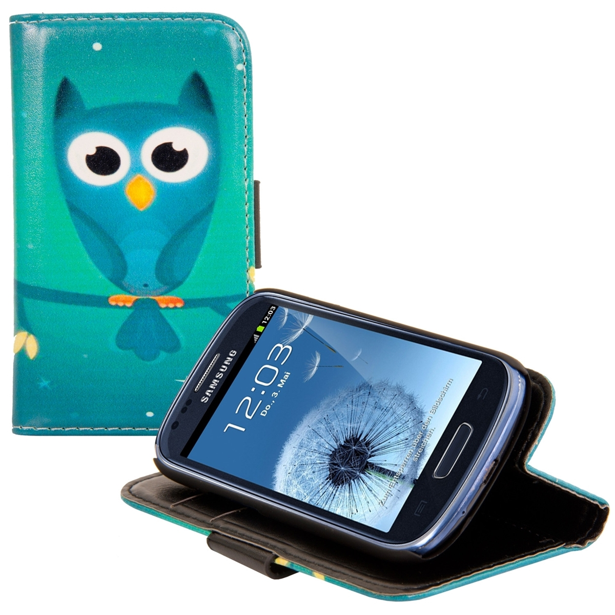 kwmobile Wallet Case for Samsung Galaxy S3 Mini i8190 - PU Leather Protective Flip Cover with Card Slots and Stand - Blue / Turquoise