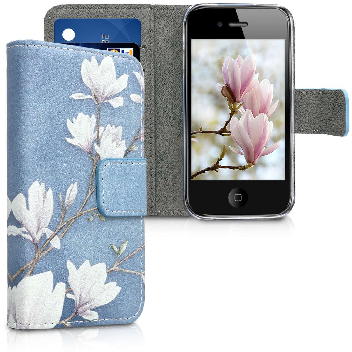 KW Θήκη - Πορτοφόλι Apple iPhone 4 / 4S - Leather Protective Flip Cover - Taupe / White / Blue Grey (16727.12)
