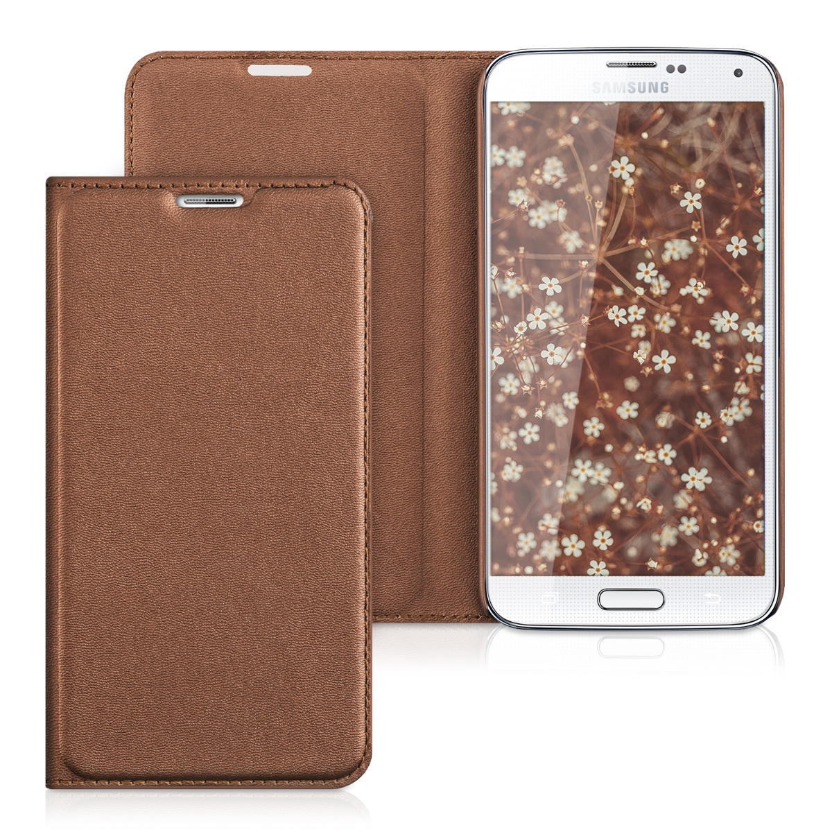 kwmobile Practical and chic FLIP COVER protective shell for Samsung Galaxy S5 / S5 Neo in Copper