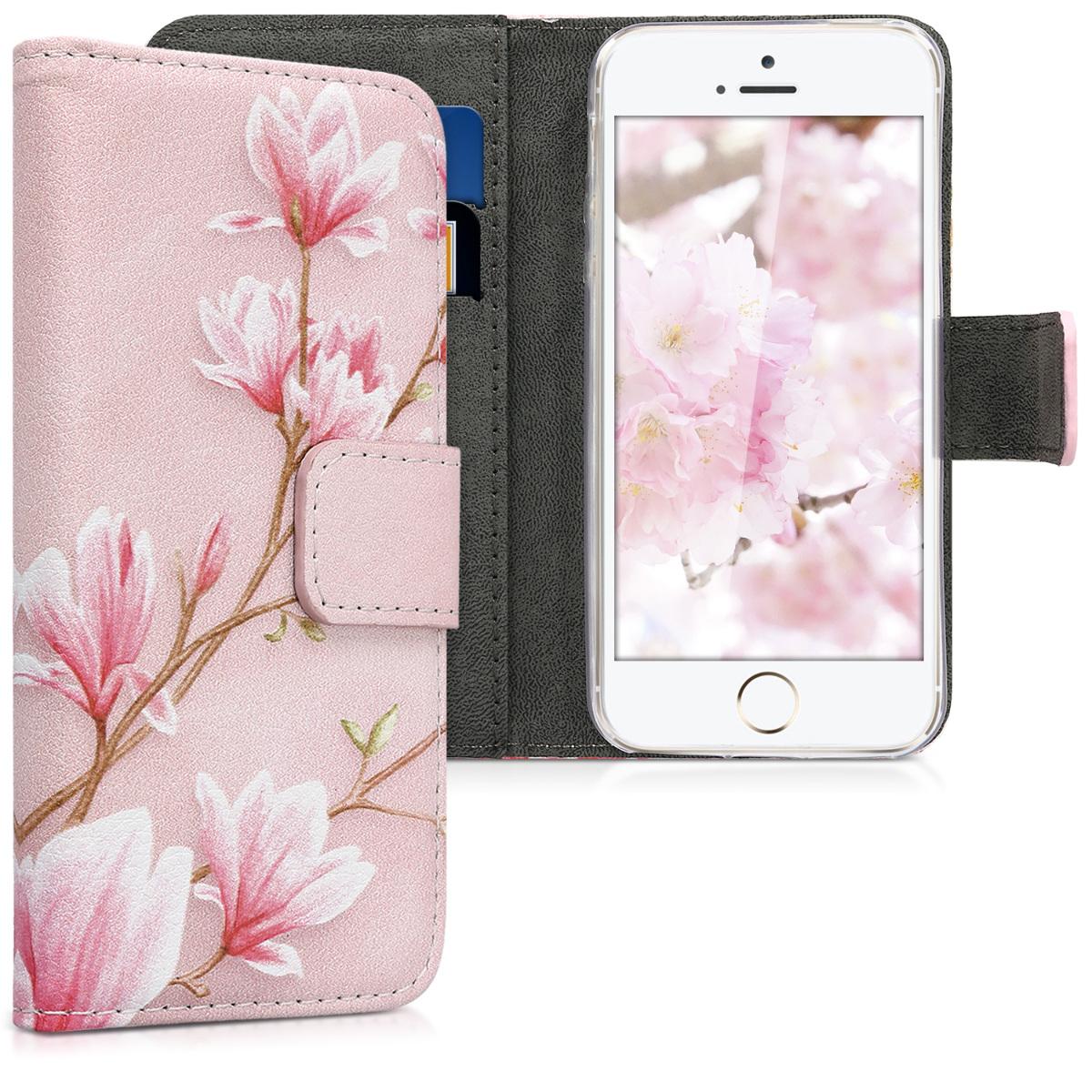 KW Θήκη - Πορτοφόλι iPhone SE / 5S / 5 - Light Pink / White / Antique Pink (20207.22)