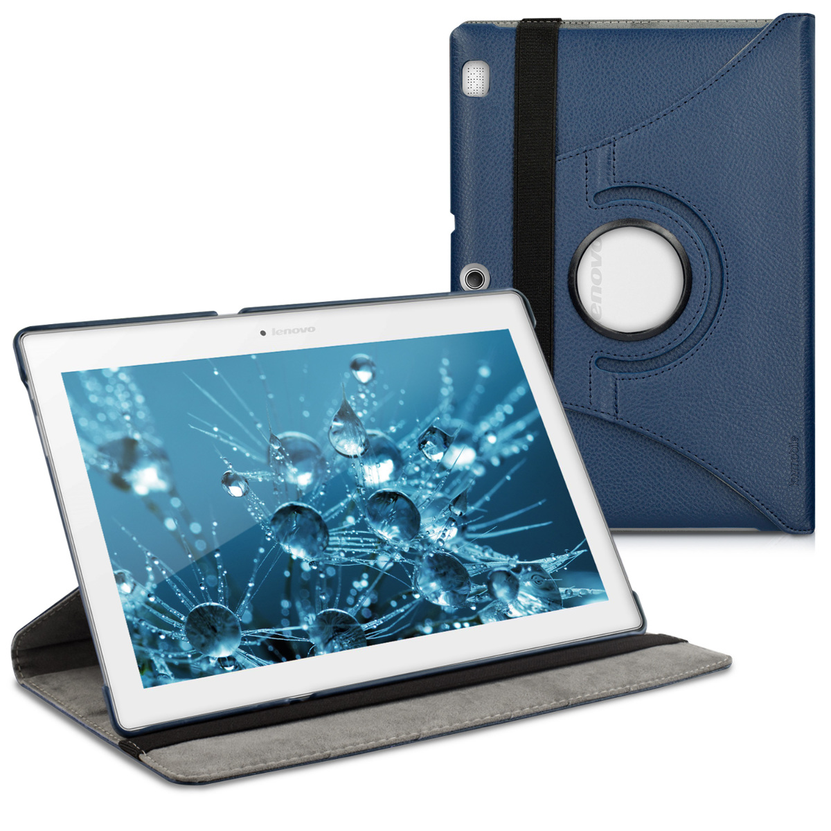 kwmobile 360° Case for Lenovo Tab 2 A10 - PU Leather Protective Tablet Cover with Stand Function - Dark Blue