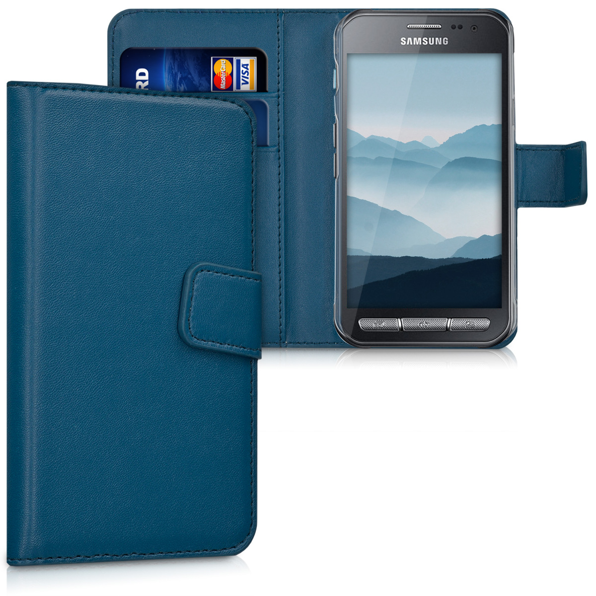 KW Θήκη Πορτοφόλι Samsung Galaxy Xcover 3 - Συνθετικό Δέρμα - Blue (31506.17)