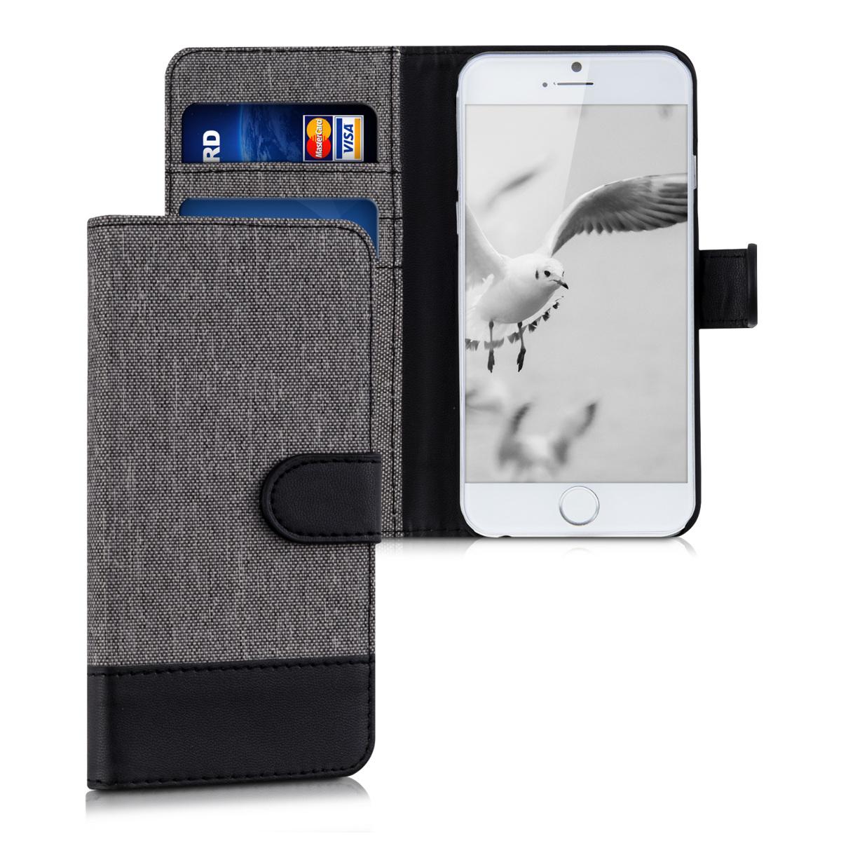 KW Θήκη Πορτοφόλι Apple iPhone 6 / 6S - Grey / Black (35220.22)