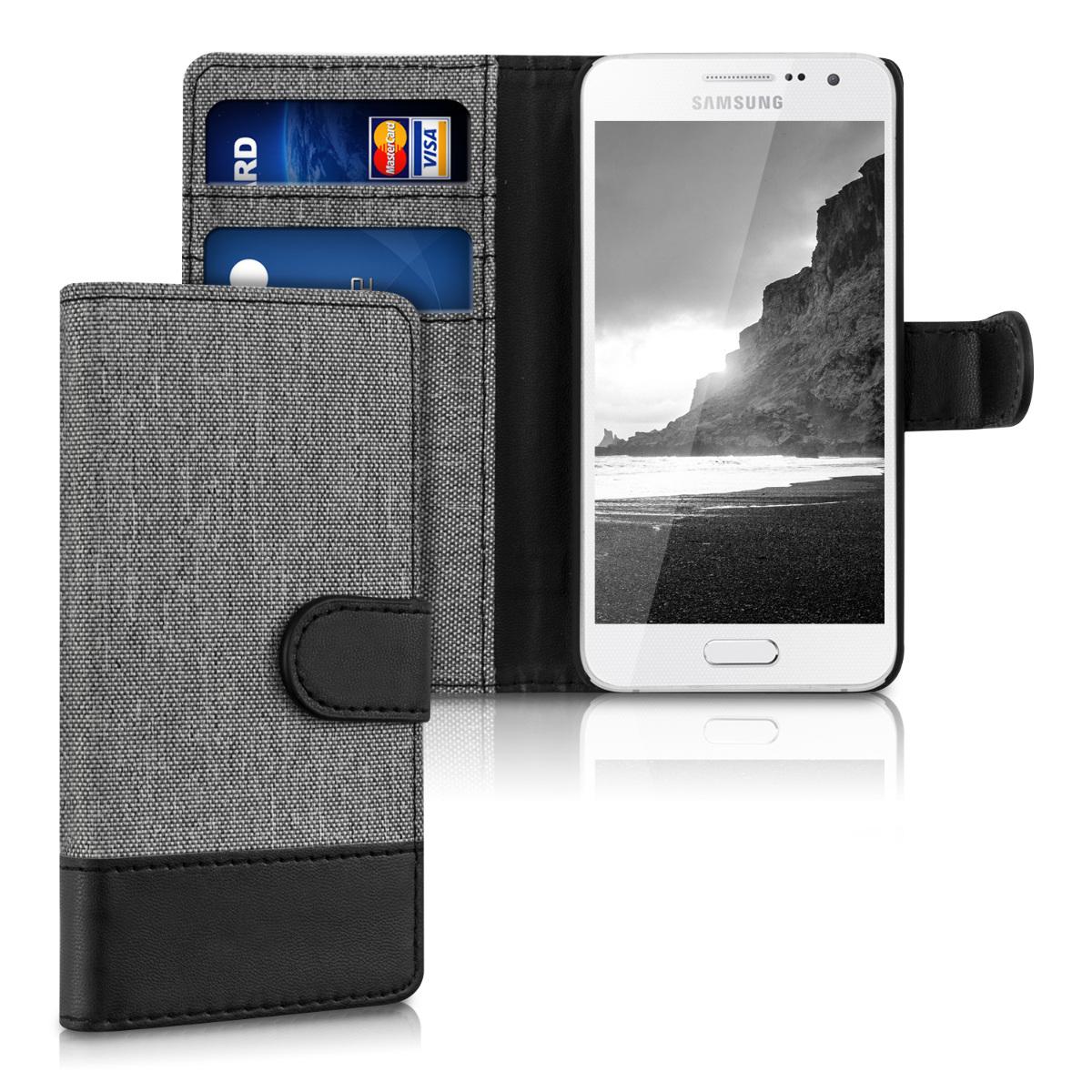 KW Θήκη Πορτοφόλι Samsung Galaxy A3 - Grey / Black Canvas (35286.22)