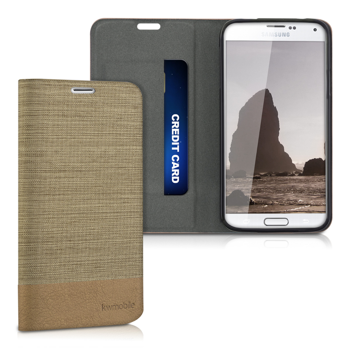 kwmobile Book Style Case for Samsung Galaxy S5 / S5 Neo - PU Leather Fabric Protective Wallet Cover with Stand - Sand / Brown