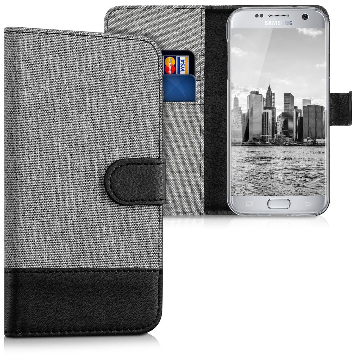 KW Θήκη - Πορτοφόλι Samsung Galaxy S7 - Grey / Black (37134.22)