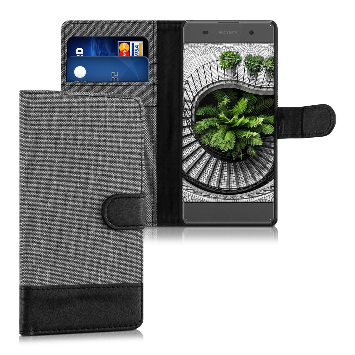 KW Θήκη Πορτοφόλι Sony Xperia XA - Συνθετικό δέρμα - Grey / Black (37314.22)