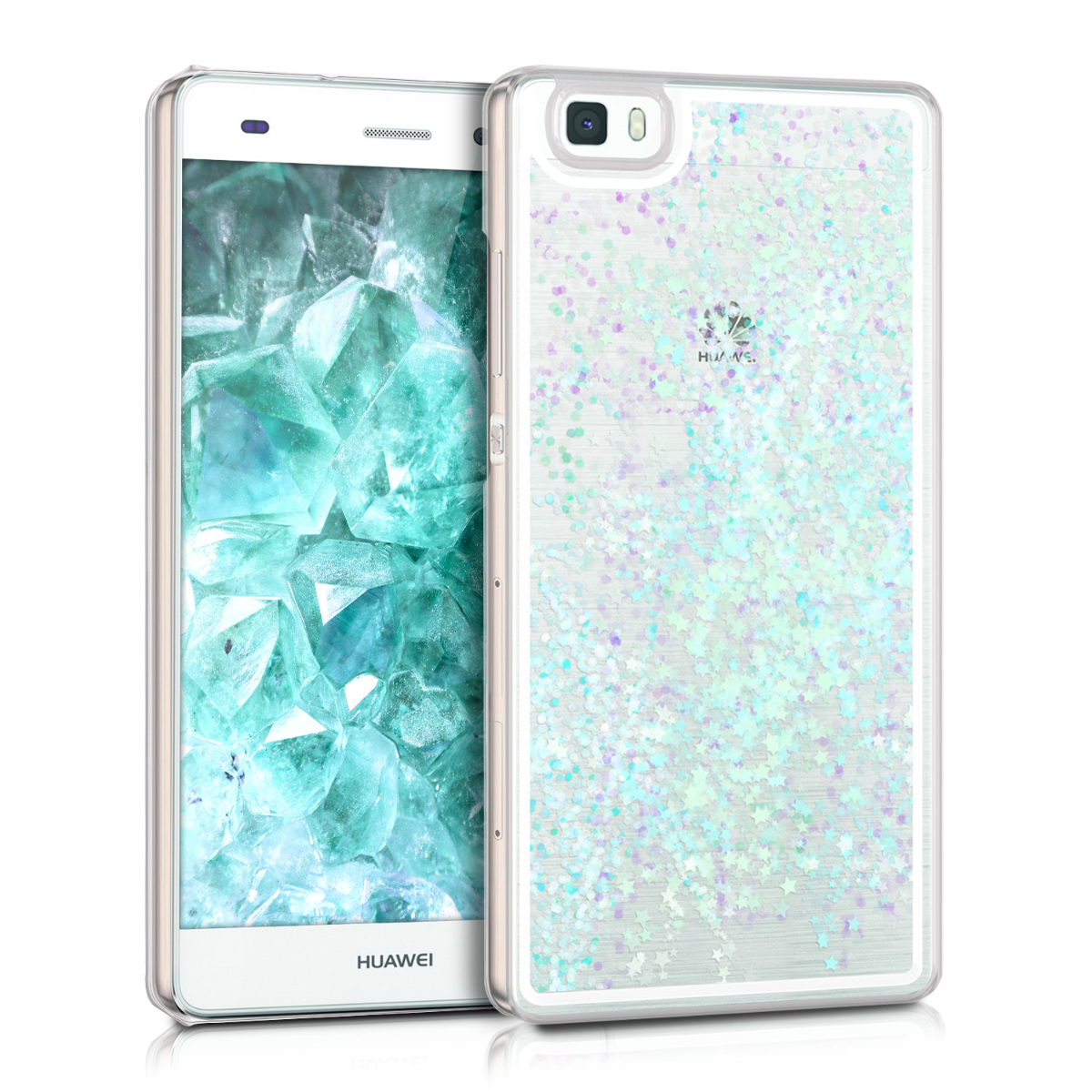 kwmobile hardcase cover for Huawei P8 Lite (2015) with liquid - hardcase backcover protective case water with Stars Snow Globe in Light Blue / Transparent