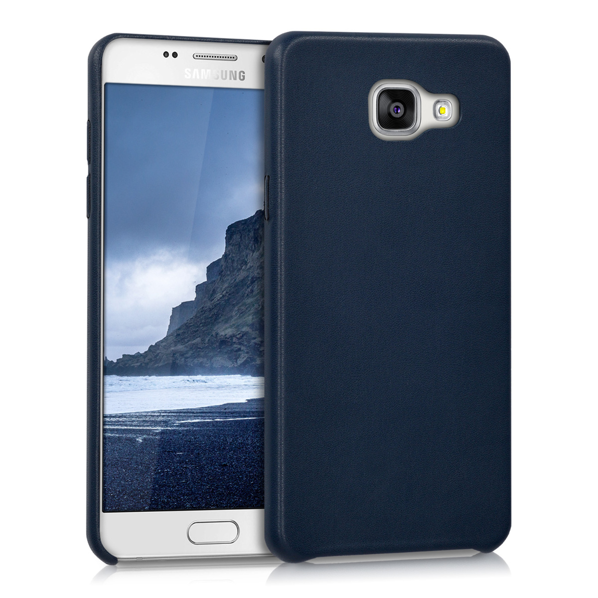 kwmobile Case for Samsung Galaxy A5 (2016) - Soft Durable Shockproof Premium PU Leather Smartphone Back Cover - Dark Blue