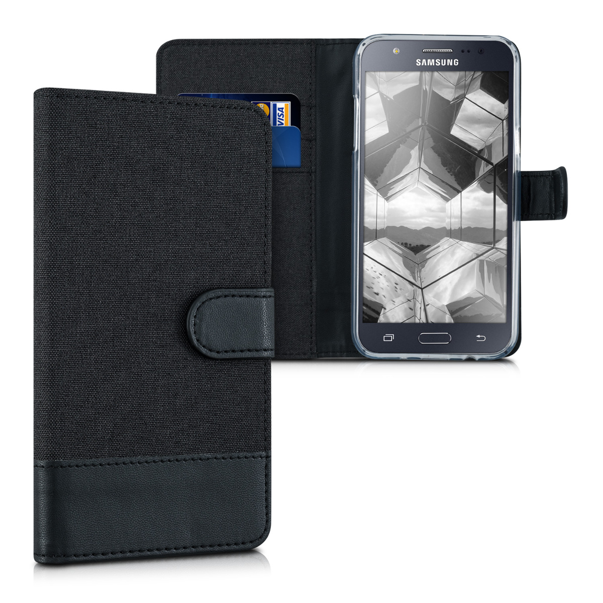 kwmobile Wallet Case for Samsung Galaxy J5 (2015) - Fabric and PU Leather Flip Cover with Card Slots and Stand - Anthracite / Black