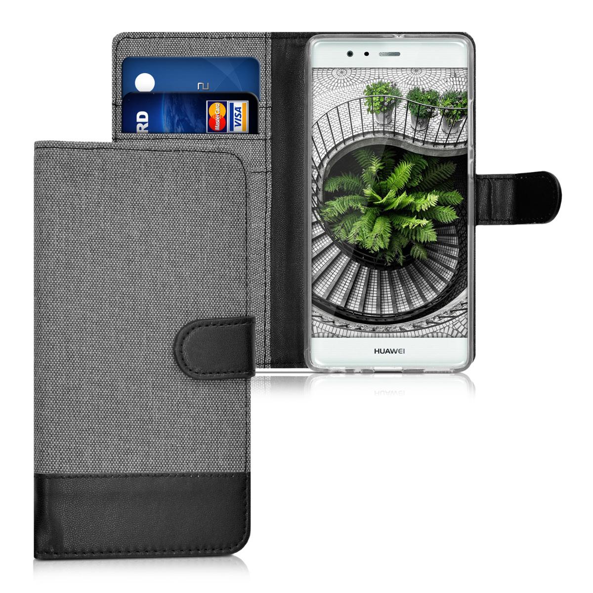 KW Θήκη - Πορτοφόλι Huawei P9 - Συνθετικό Δέρμα - Grey / Black (38010.22)