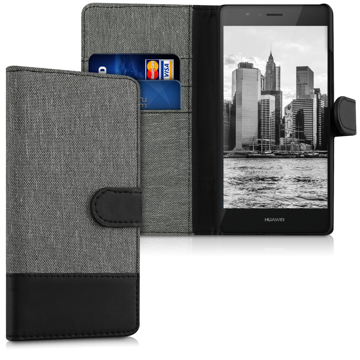 KW Θήκη - Πορτοφόλι Huawei P9 Lite - Grey / Black (38037.22)