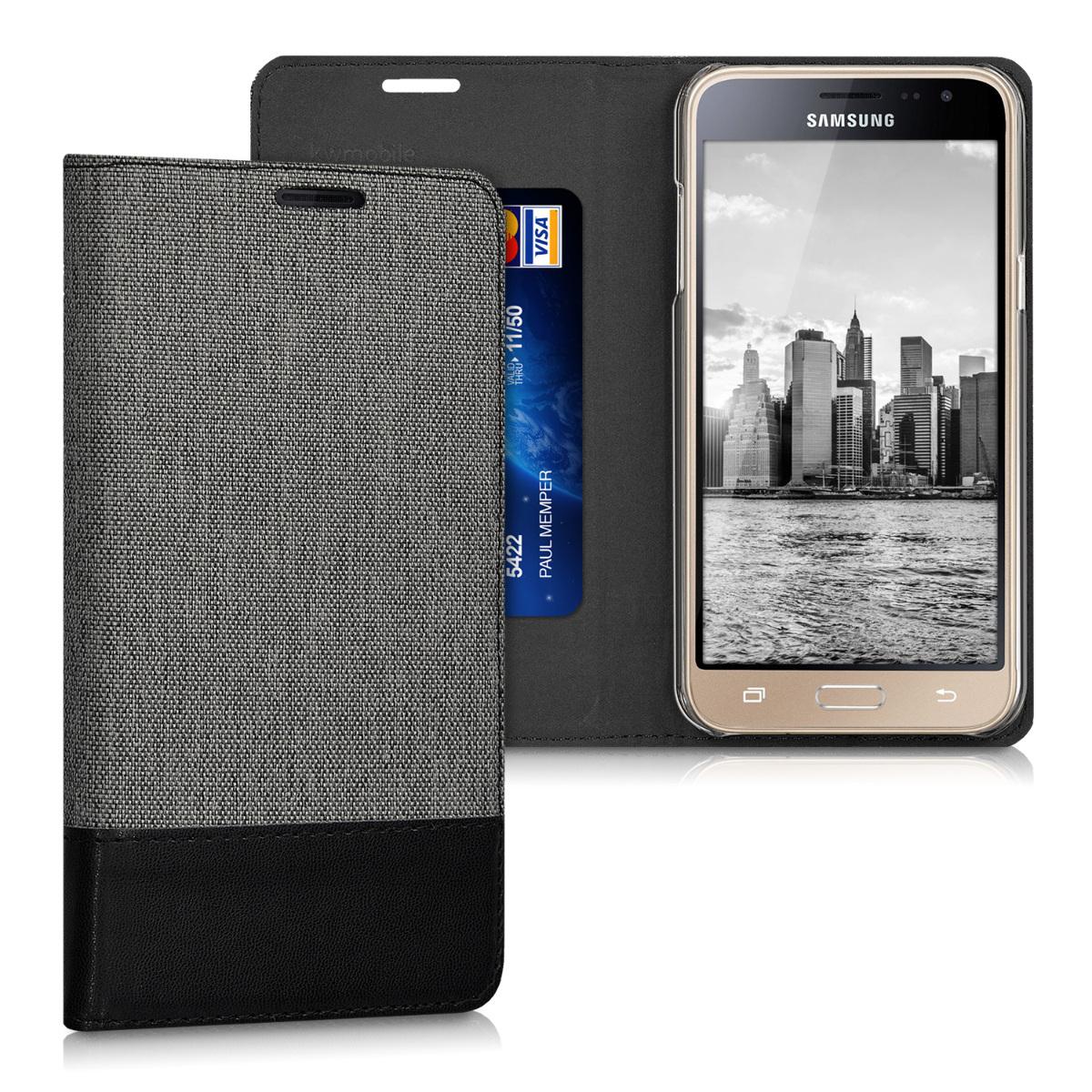 KW Θήκη - Πορτοφόλι Samsung Galaxy J3 (2016) DUOS - Συνθετικό Δέρμα - Grey / Black (38156.22)