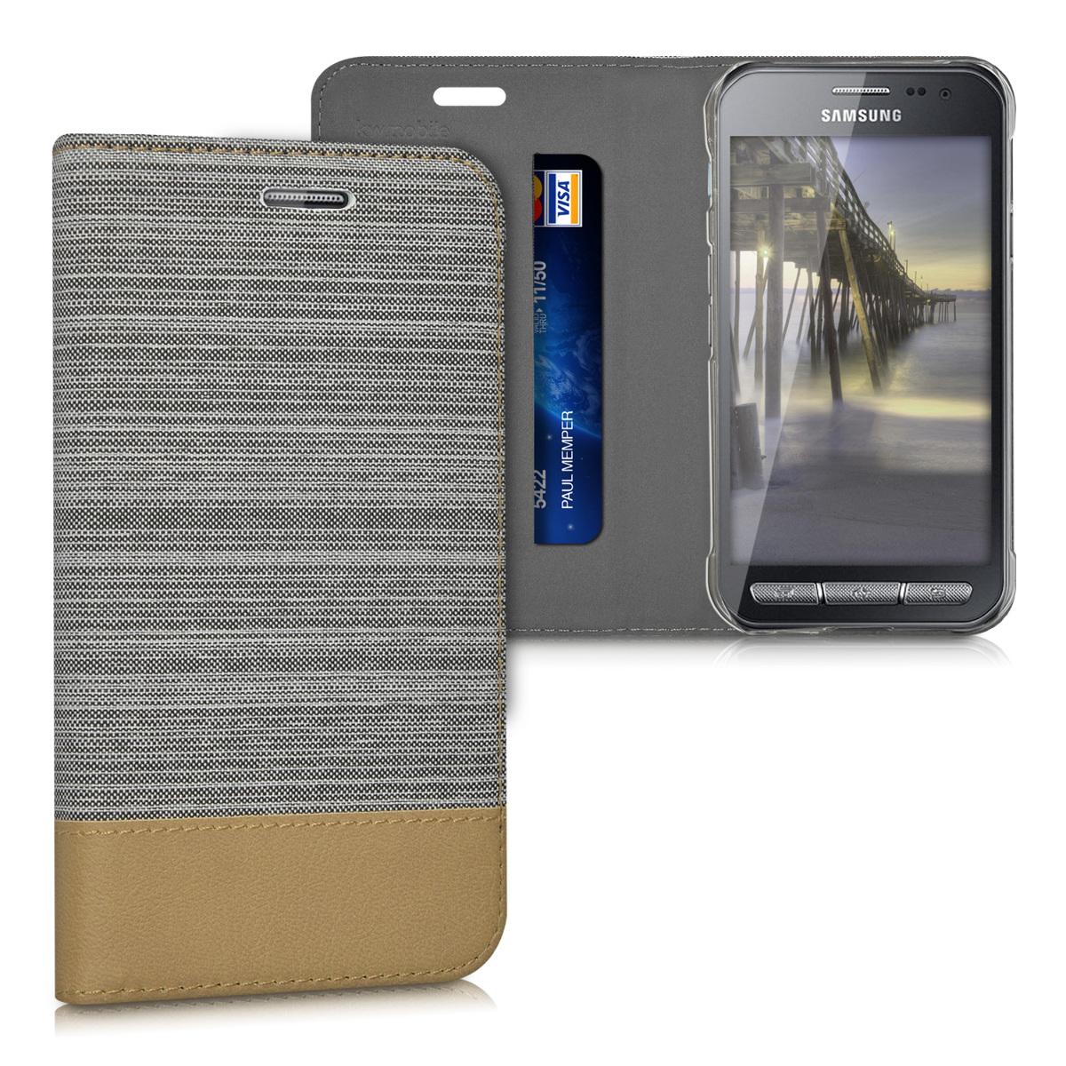 KW Θήκη Book Samsung Galaxy Xcover 3 - Συνθετικό δέρμα - Light Grey / Brown (38237.25)