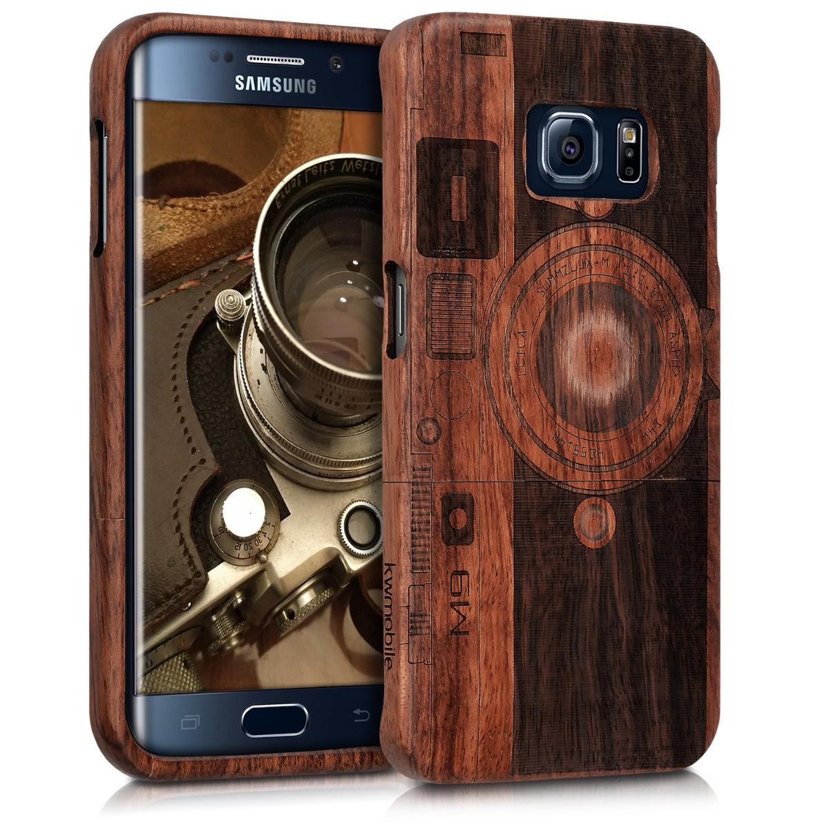 KW Σκληρή Ξύλινη Θήκη - Samsung Galaxy S6 Edge- Dark Brown- ( 38288.03)