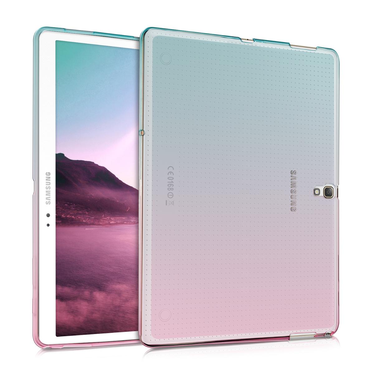 KW Ημιδιάφανη Θήκη Σιλικόνης Samsung Galaxy Tab S 10.5 T800 / T805 - Soft Flexible Shock Absorbent - Dark Pink / Blue / Transparent (38368.01)