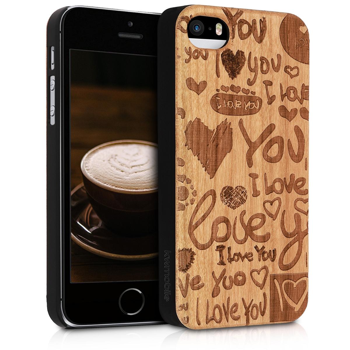 KW Ξύλινη Θήκη iPhone SE / 5S / 5 - Σχέδιο καρδούλες (38451.16)