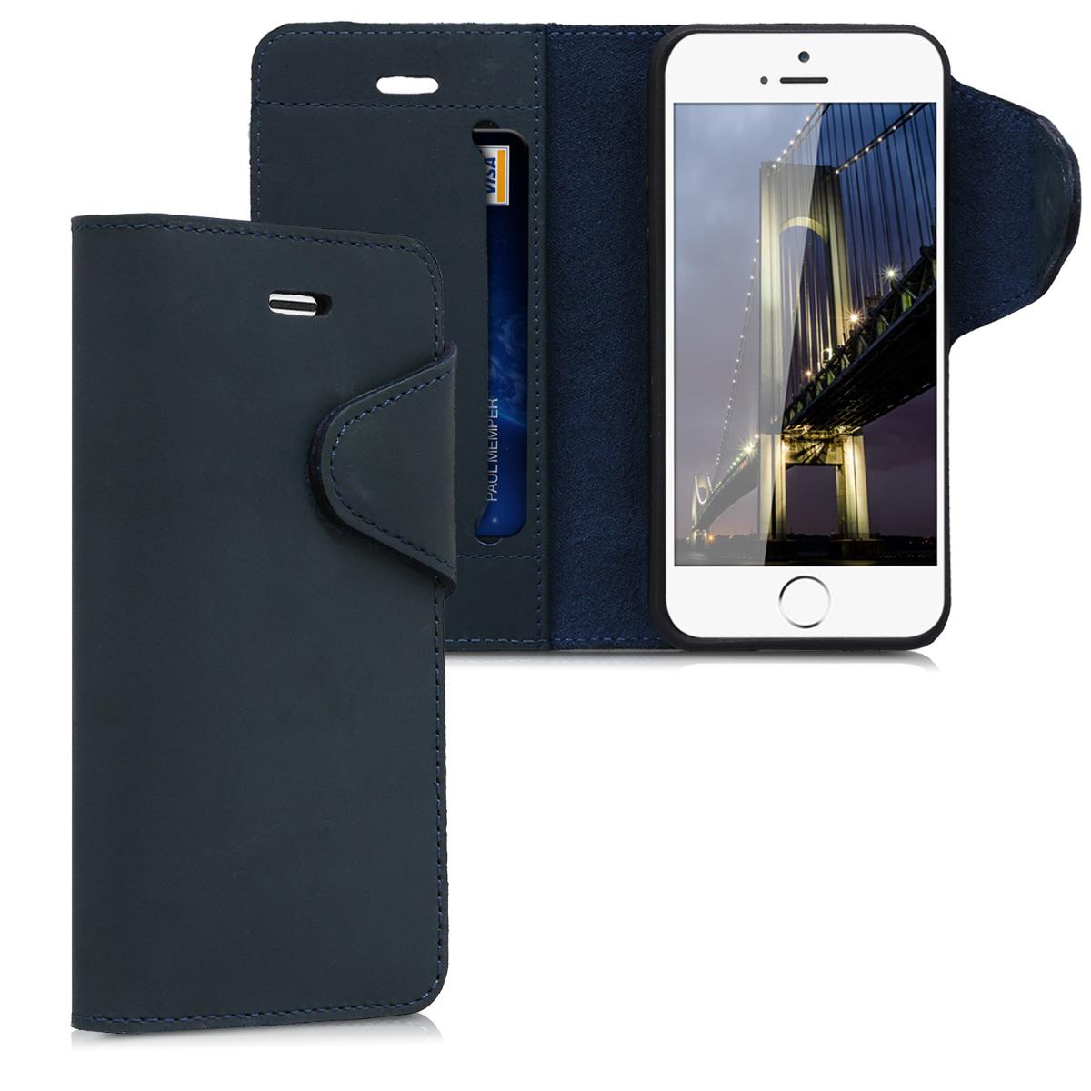 Kalibri Δερμάτινη Suede Θήκη - Πορτοφόλι Apple iPhone SE / 5 / 5S - Dark Blue (38792.17)