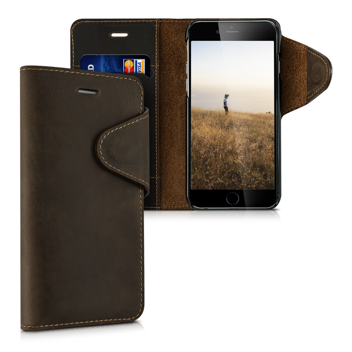Kalibri Δερμάτινη Suede Θήκη - Πορτοφόλι iPhone 6 / 6S - Brown (38793.05)
