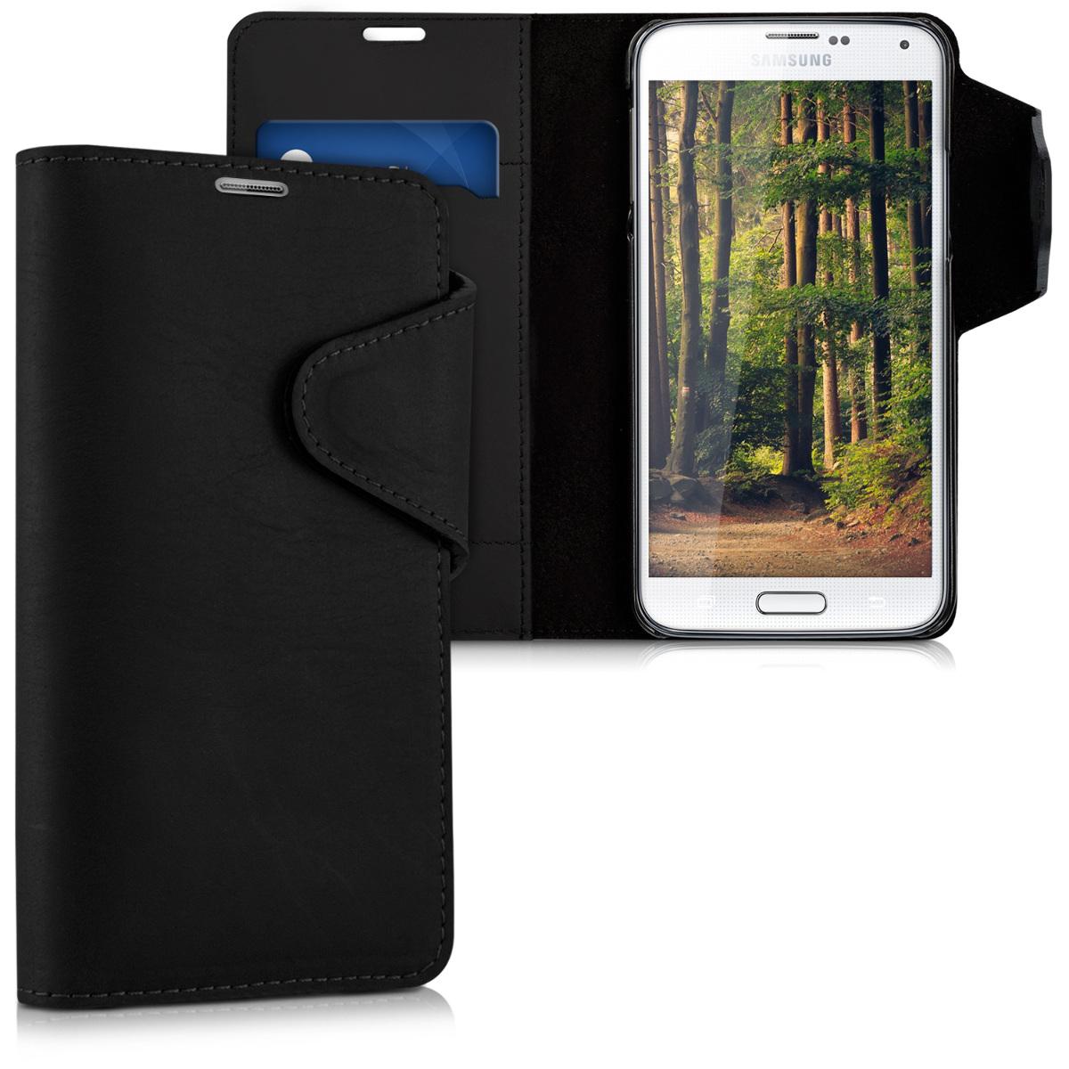 Kalibri Δερμάτινη Suede Θήκη - Πορτοφόλι Samsung Galaxy S5 / S5 Neo - Black (38796.01)