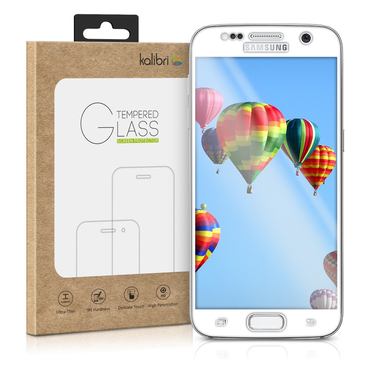 Kalibri Tempered Glass - Fullface Αντιχαρακτικό Γυαλί Οθόνης Samsung Galaxy S7 - White Frame (38802.02)