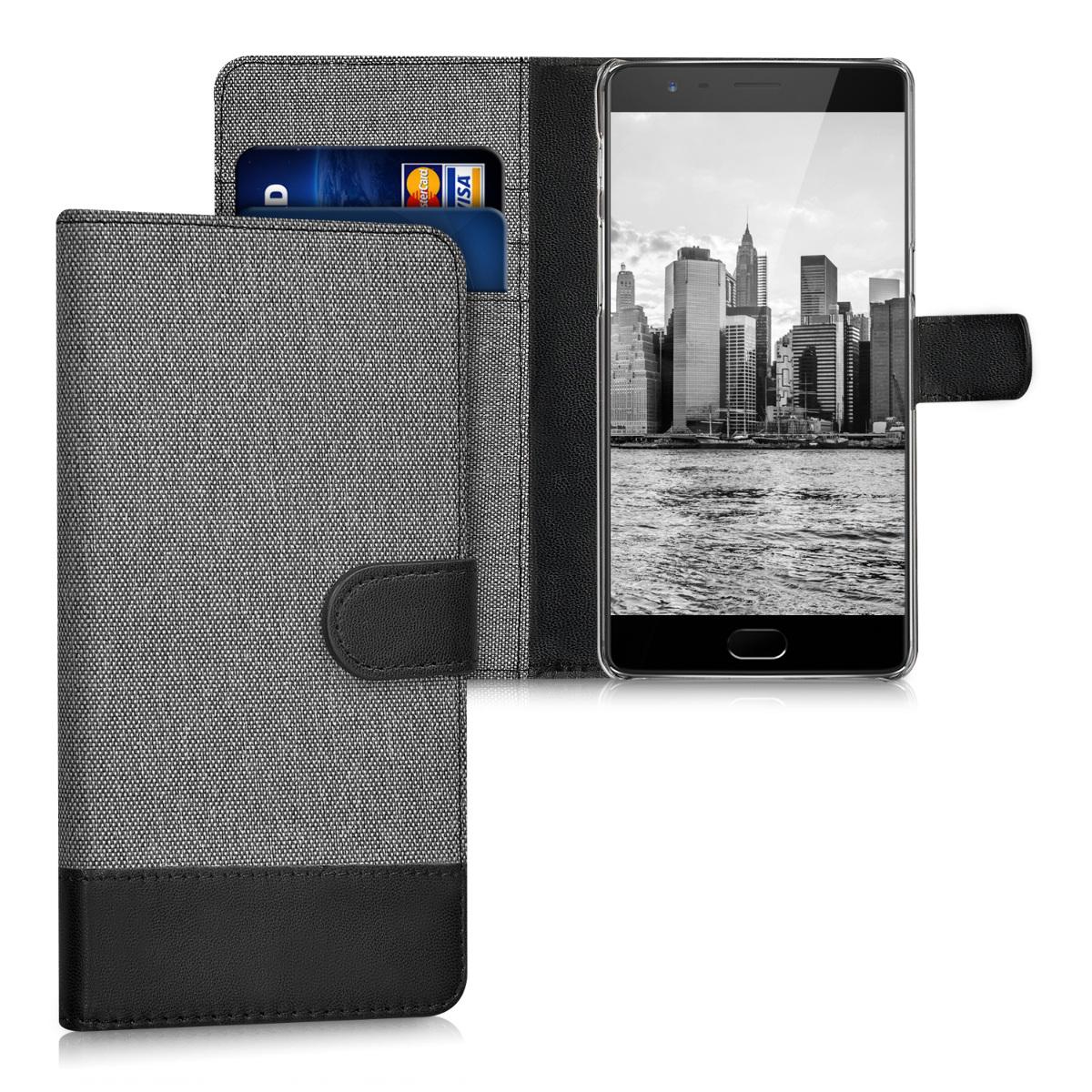 KW Θήκη Πορτοφόλι OnePlus 3 / 3T - Grey / Black (38833.22)