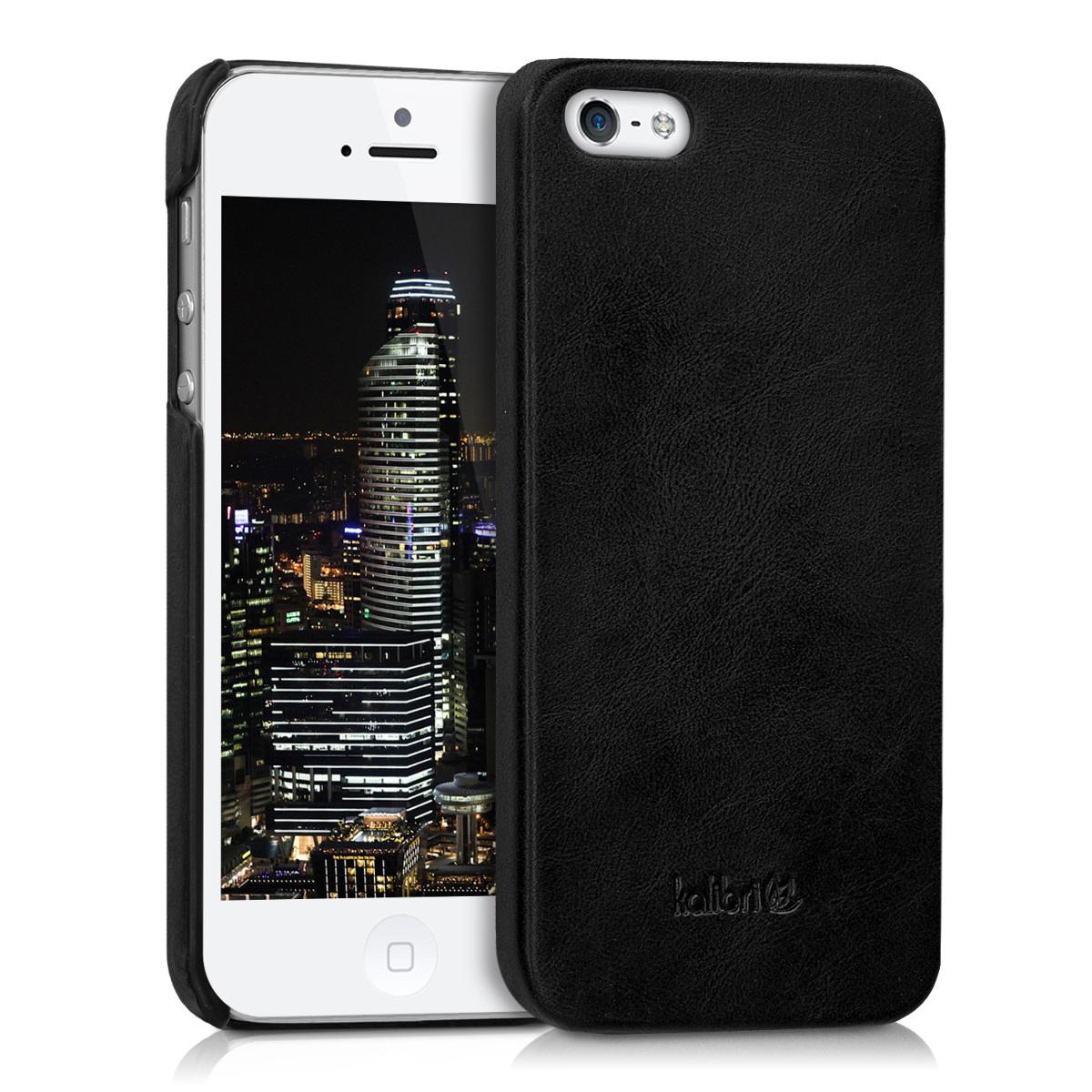Kalibri Σκληρή Δερμάτινη Θήκη iPhone SE / 5S / 5 - Black (38962.01)