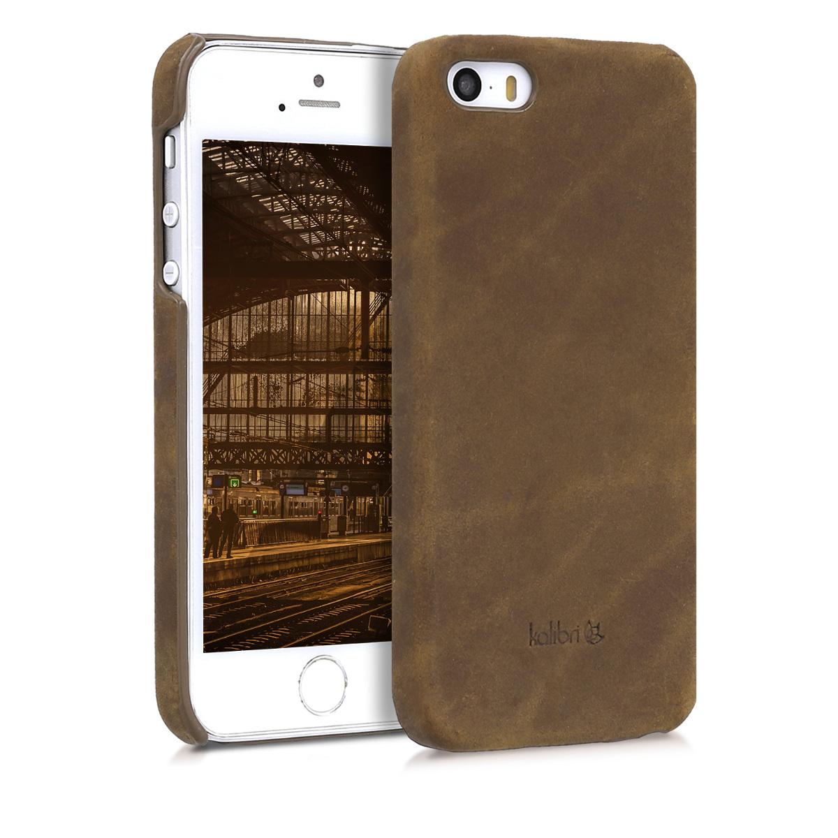 Kalibri Σκληρή Δερμάτινη Θήκη iPhone SE / 5S / 5 - Brown (38962.05)