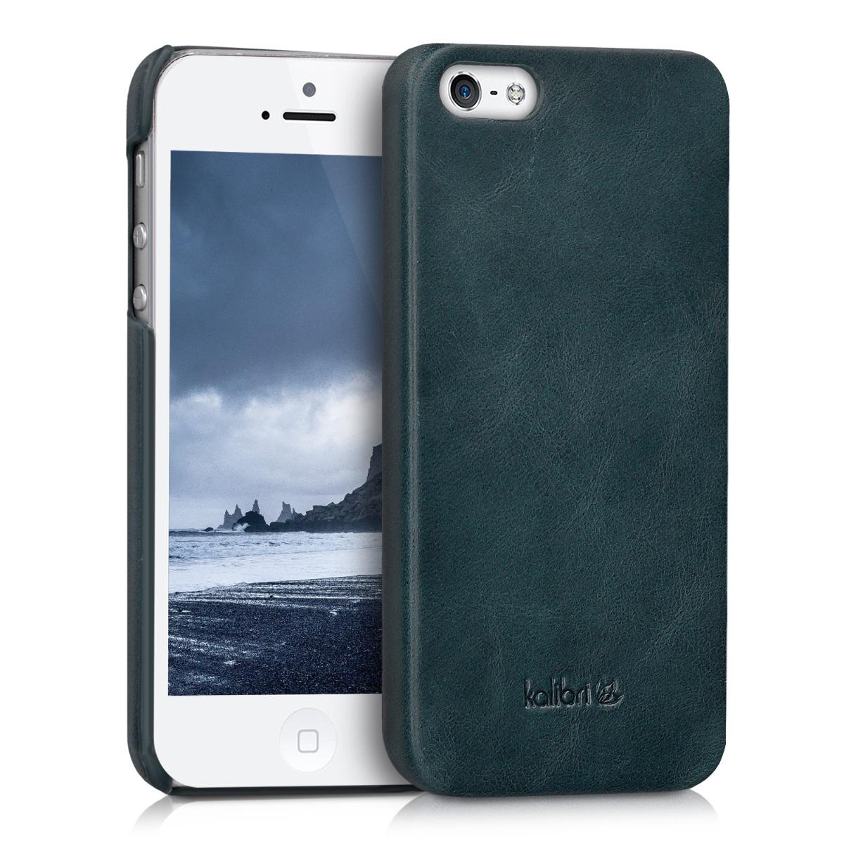 Kalibri Σκληρή Δερμάτινη Θήκη iPhone SE / 5S / 5 - Dark Blue (38962.17)